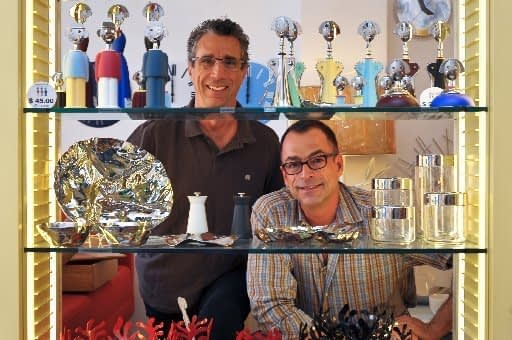 Gene Mignola, left, and Scott Hamm, longtime partners at their store, Shelter Home.