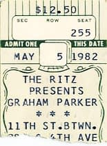 My ticket stub from Graham Parker at THE RITZ - Not Irving Plaza ... d'oh!